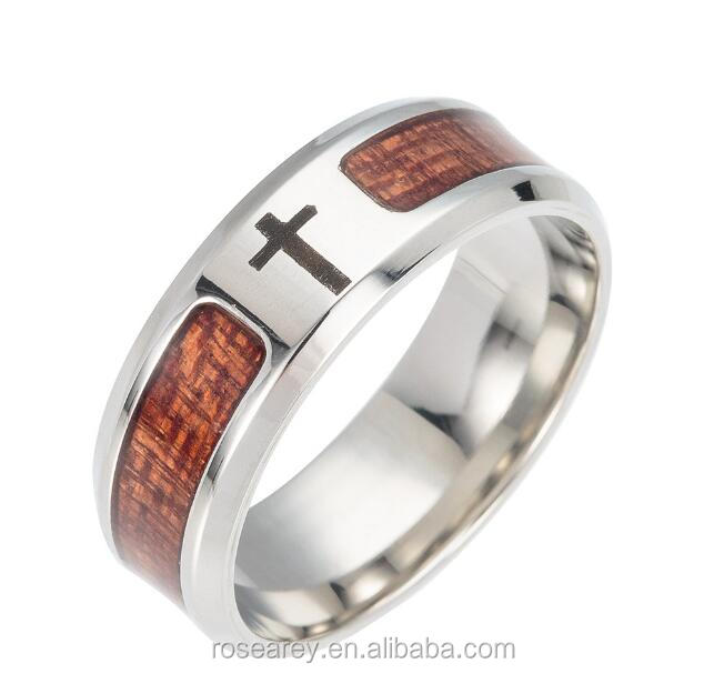 Top Selling Religious Jewelry Tungsten Koa wood Inlaid Wooden Cross Ring