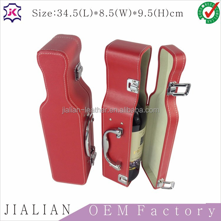 Factory custom new design fashionable creative red leather guitar-shaped <strong>wine</strong> packaging box for one bottle