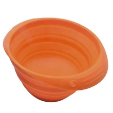 Orange Collapsible Folding Silicone Foldable Dog Pet Bowl with Metal Hook Carabiner Clip