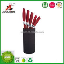 Red handle 6 piece kitchen knife set with black stand