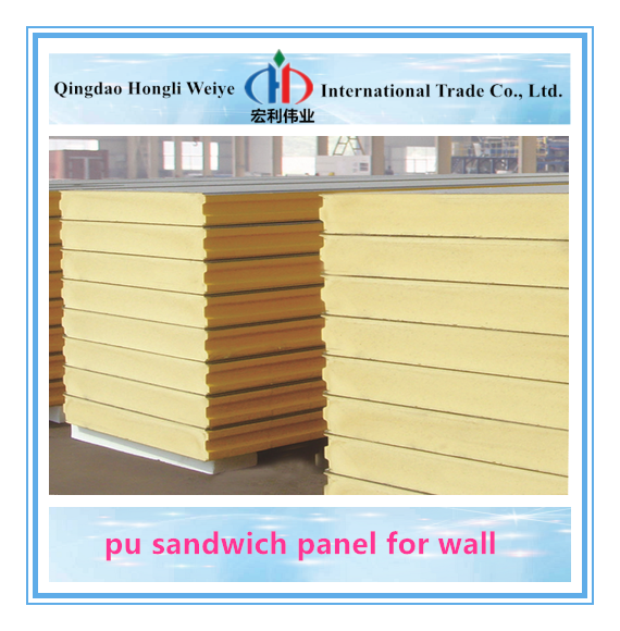 Building Material Insulation 50-200mm polyurethane foam PU Sandwich Panel For Freezer Cold Room