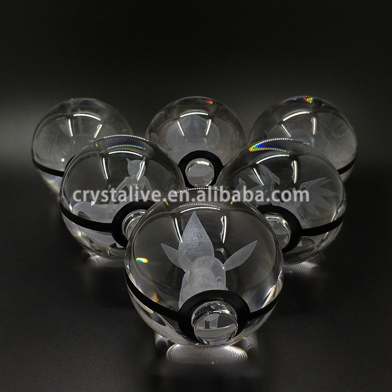 3D Engraving Crystal Glass Pokemon Ball for Kids Gifts