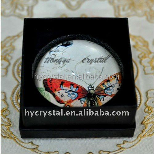 Beautiful Butterfly round glass paper weight