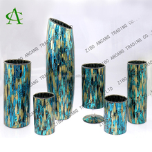 Different shapes handmade crackle mosaic glass decorative vases for home decoration