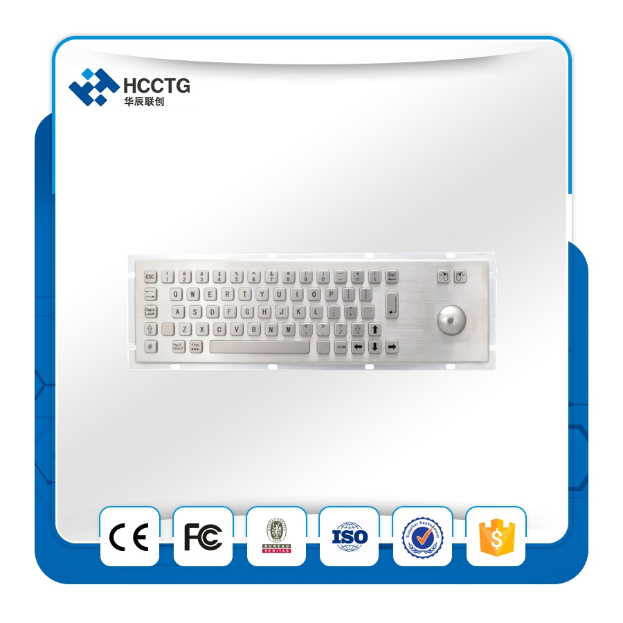 Compact Format Waterproof and Dustproof Industrial Kiosk Metal Keyboard With Trackball HCK299B