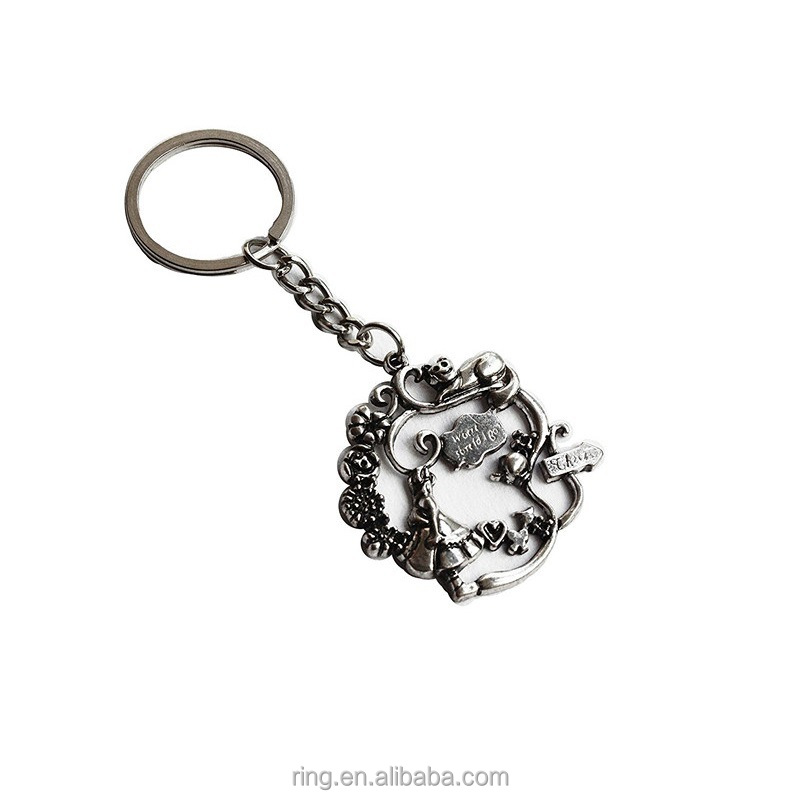 New design Silver Plated Alice In Wanderland Keychain Keyring