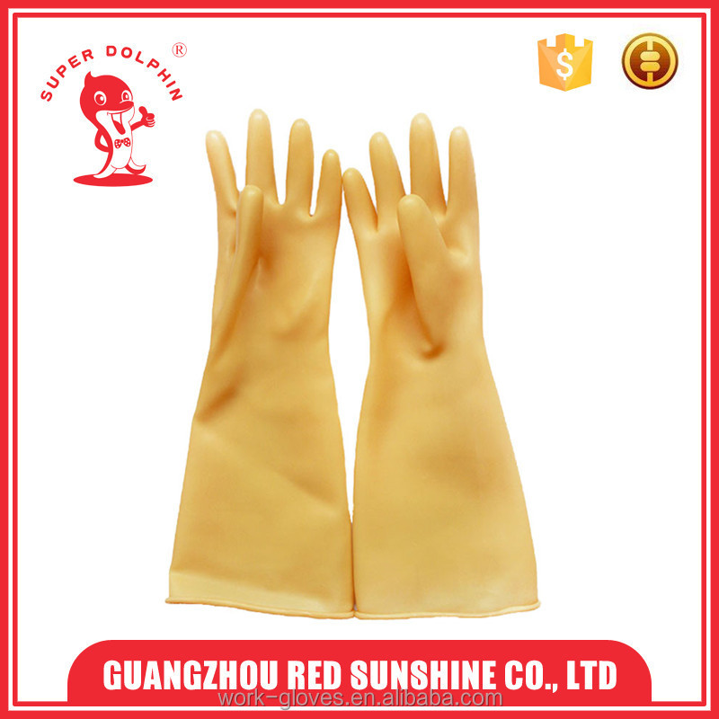 Long sleeve yellow rubber gloves sun protection