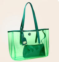custom green color plastic transparent clear beach shopping bag