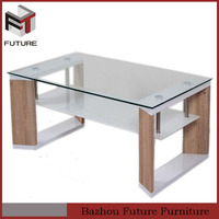 swivel glass top wood base coffee table without stools for young