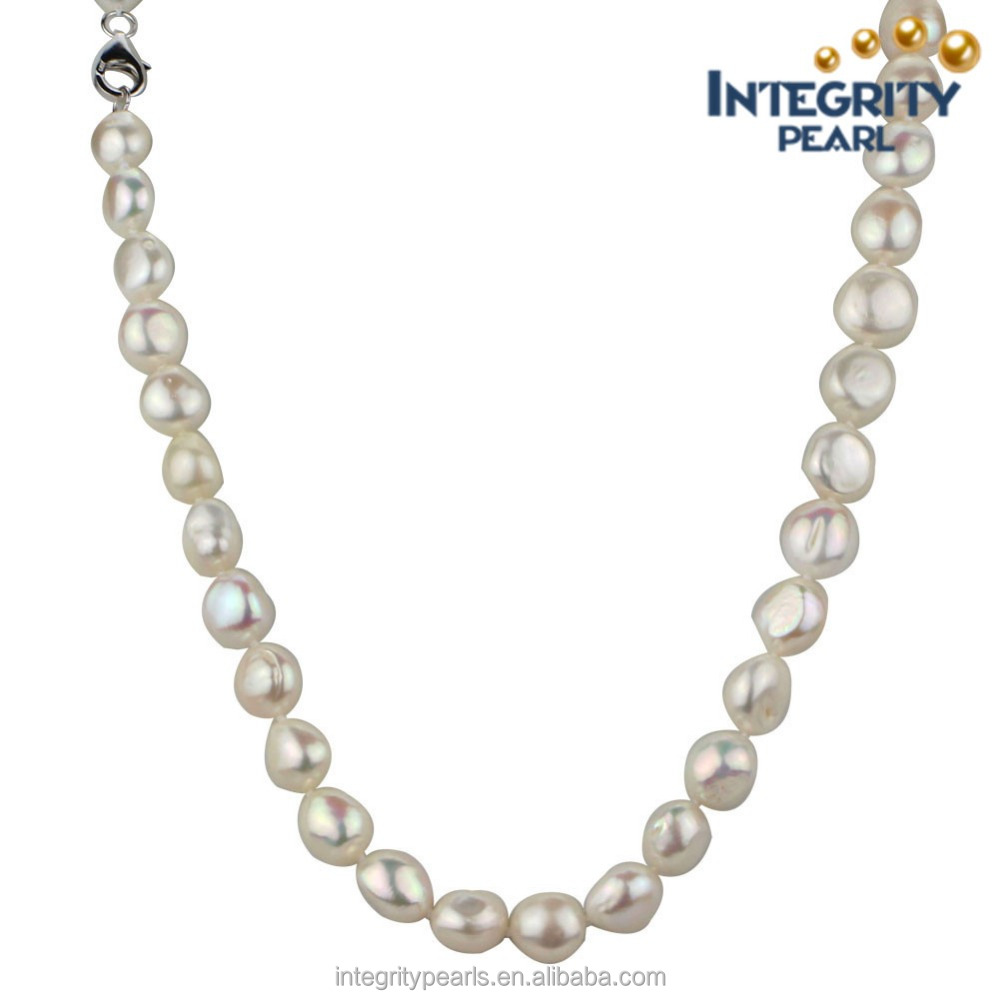 12mm white flat shape 24 inches long women natural baroque nugget pearl necklace