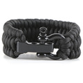 Black Paracord Bracelet With Metal Buckle Survival Wide Bracelet