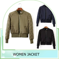 2016 Fashion Womens Winter Warm V-Neck Quilted Zipper Jacket Short Padded Bomber Coat Jacket Outerwear 3 Color chaquetas