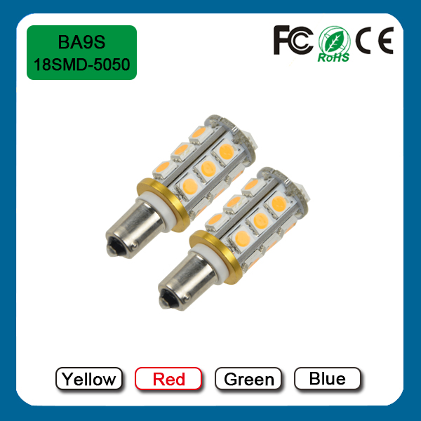 Red 2.5W 18SMD 5050 300LM LED BA9S Car Brake Turn Signal Tail Light