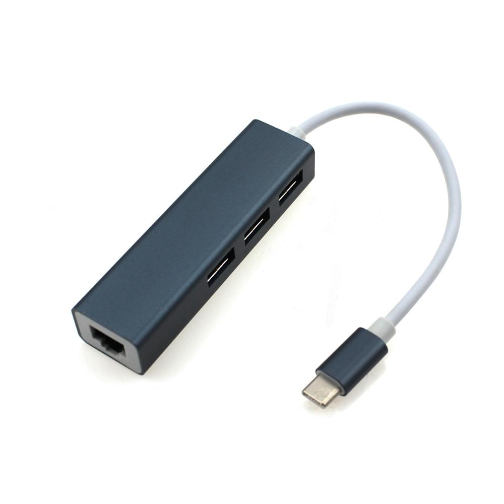 Factory price USB 3.1 Type-<strong>C</strong> to RJ45 3xUSB 3.0 port adapter ethernet adapter hub adapter
