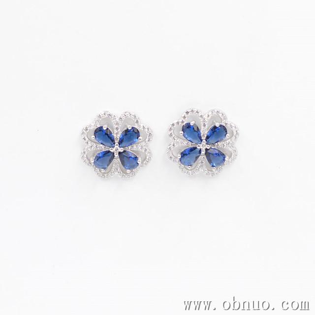 SC214 925 sterling silver Four Leaf Clover white blue cz earing best-selling costume jewelry brass zircon flower earrings