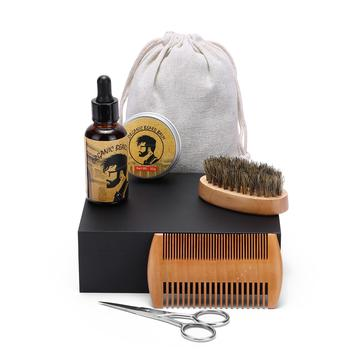 Organic Beard Balm Wax And Wooden Brush Beard Grooming Kit For Men With Cloth Bag