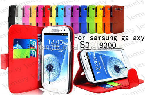Wholesale Case Premium PU Leather Wallet Flip Stand Cover Bag With Card Slot Pocket For Samsung Galaxy S3 I9300