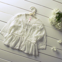 Girl Lace White Tshirt Children Spring and Fall Chifon Clothes Kids Tops Girls Free Shipping Factory Cheap Price OC50309-12