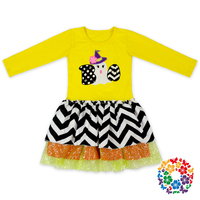 Wholesale Latest Design Fall Long Sleeve Yellowen Dress Boutique Halloween Ghost Girl Child Dress