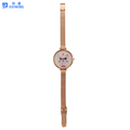 Fashion rose gold mesh strap quartz lady watch