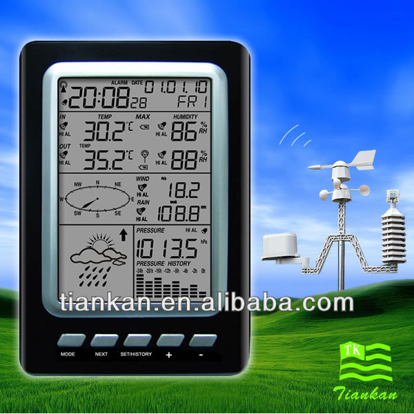 WS1030 RF 433 MHz Digital wireless weather station LCD Alarm Clock Outdoor/Indoor Temperature and Humidity