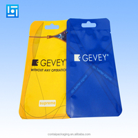 Plastic Three Sides Ziplock Bags with Euro-Slot for Packaging Cable/USB Cable Charger Plastic Zipper Packaging Bag