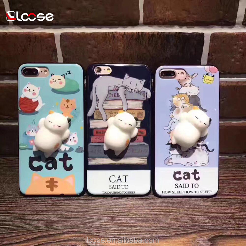 2018 Wholesale Squishy Toys 3D animal Squish Phone Case lovely TPU protective foam squishy phone cover for iphone 8 8plus