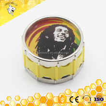 3layers drum tobacco grinder with Bob marley design