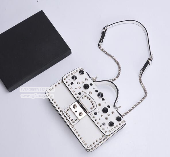Newest style real leather lady handbag brand crossbody bags for fashion girl with studded EMG5187