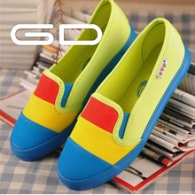 2014 China latest womens mixed colored cheap flat casual canvas shoes