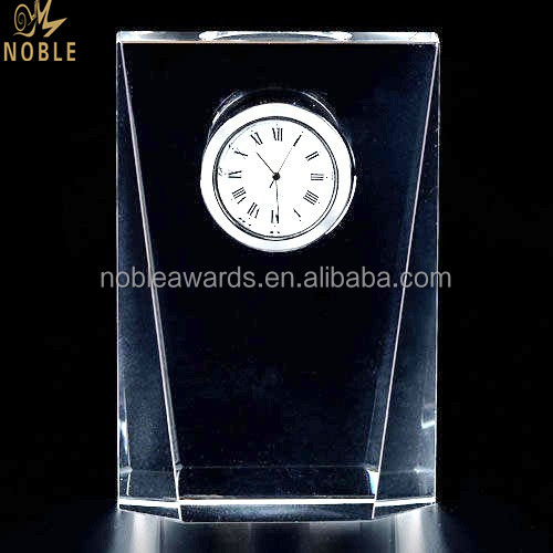 Crystal Clock Plaque Block With Custom Logo Engraving Souvenirs