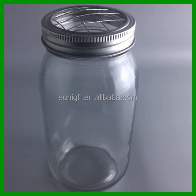 hot sale glass mason jar with sprouting metal lid