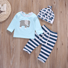 Cartoon Elephant Baby Boys Clothing Set 2017 New 3Pcs Cute Cotton Fashion Infant Outfit Trend Tops+pants+Hat set