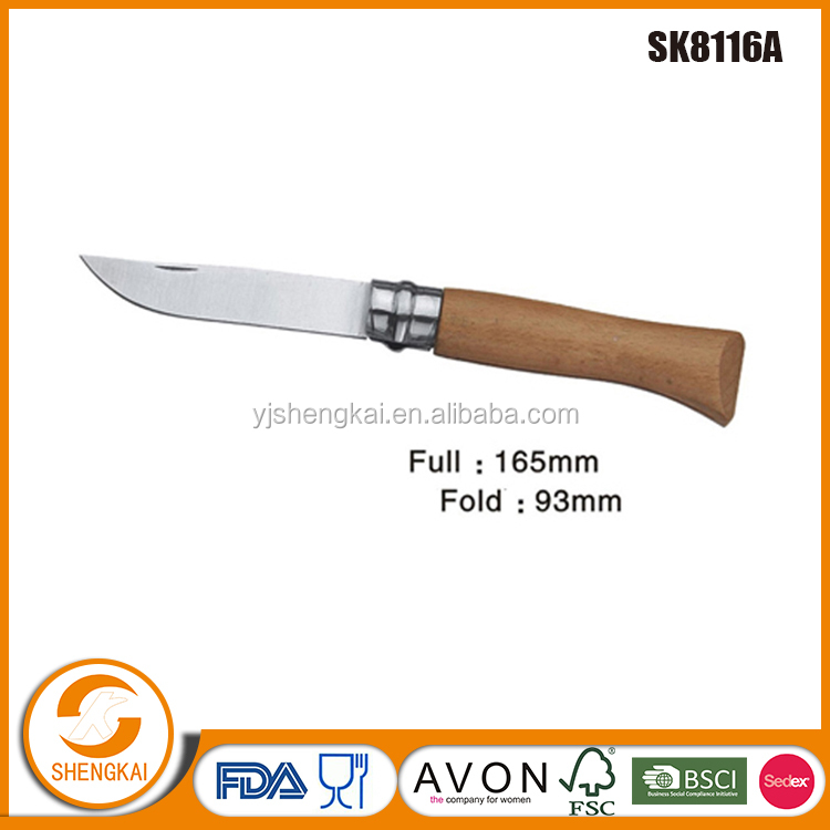 1pc pocket knife folding saber knife,sellable.wooden handle