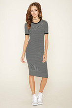 new fashion ladies dresses,woman stripe dress,white and black dress with short sleeve