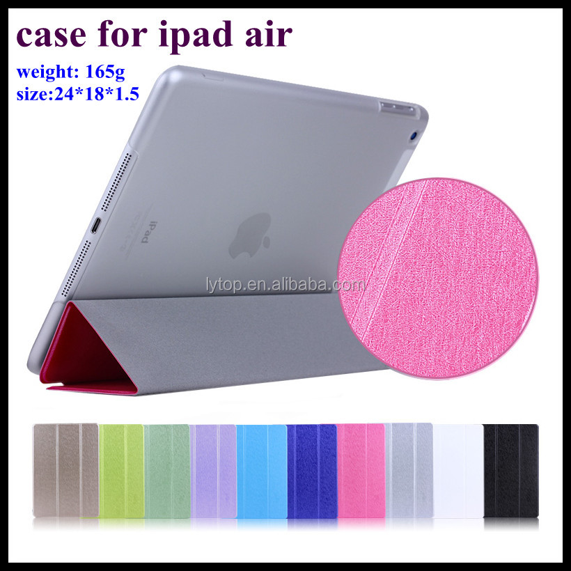Ultrathin Silk Design 3 folding Smart Cover Leather Case for ipad air