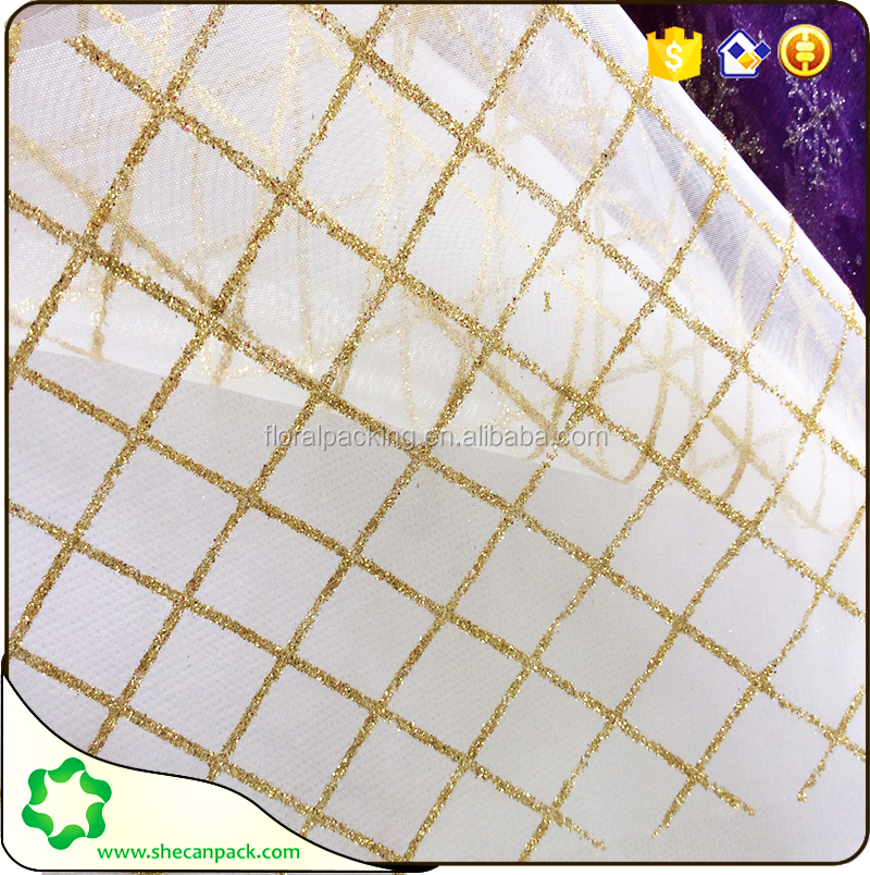 SHECAN super gold line plaid printed decorative organza