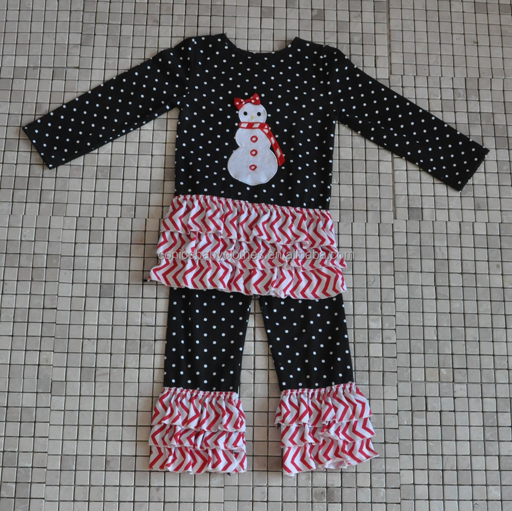 2016 winter holiday polka dot snow man match ruffle pant christmas boutique outfits
