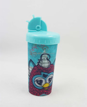 3D Straw cup for kids;3D drinking cup with straw