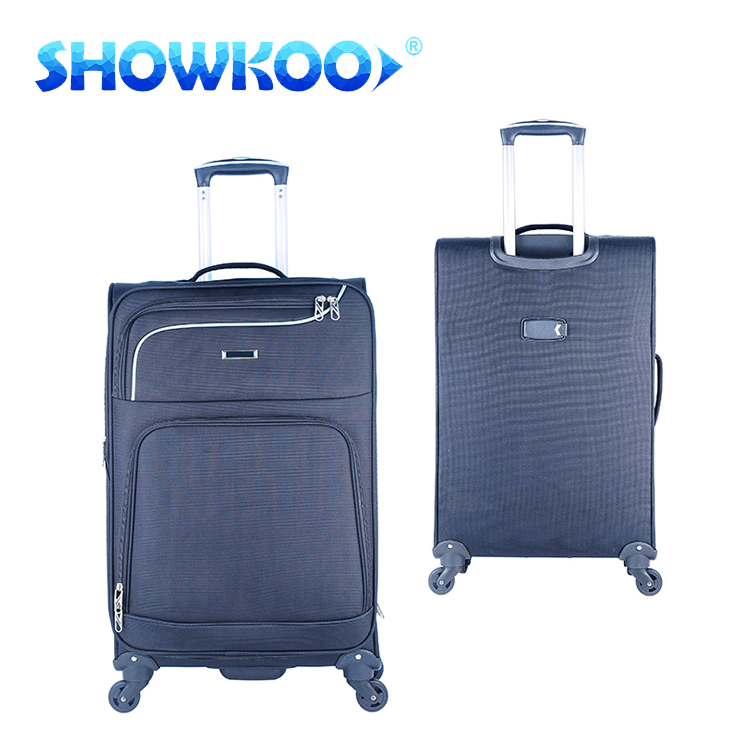 aluminum trolley Light weight & portable wheeled quality cabin polyester soft travel luggage