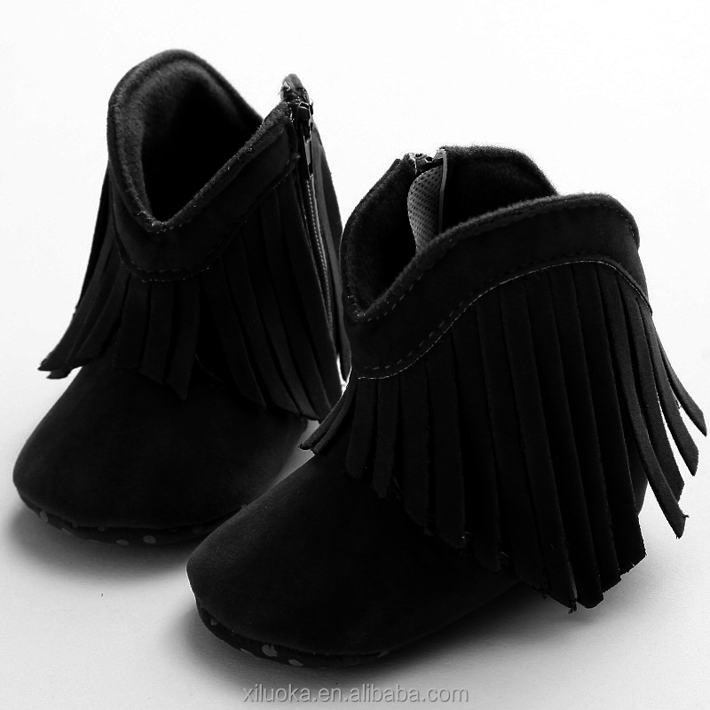 Soft sole leather black shoes fringe baby winter booties for sale