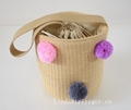 Beach Tote Bag Handmade Straw Woven with Pom Pom for Women and Girls