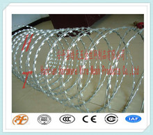 cross type or single coil high security hot dipped/ PVC coated stainless steel/iron concertina razor barbed wire/tape(BTO/CBT)