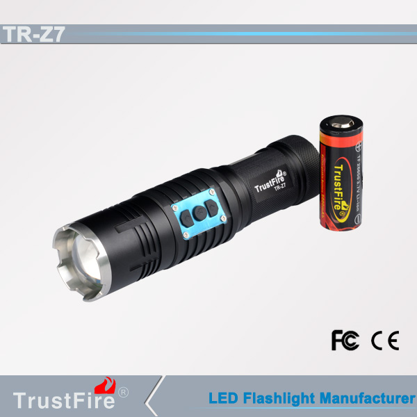 TrustFire Z7 3.7v 550 lm cree xm-l 2 led zoomable led flashlight/torch with 26650 <strong>battery</strong>