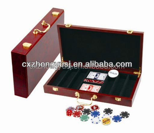 luxury packing in wooden case 300 poker set