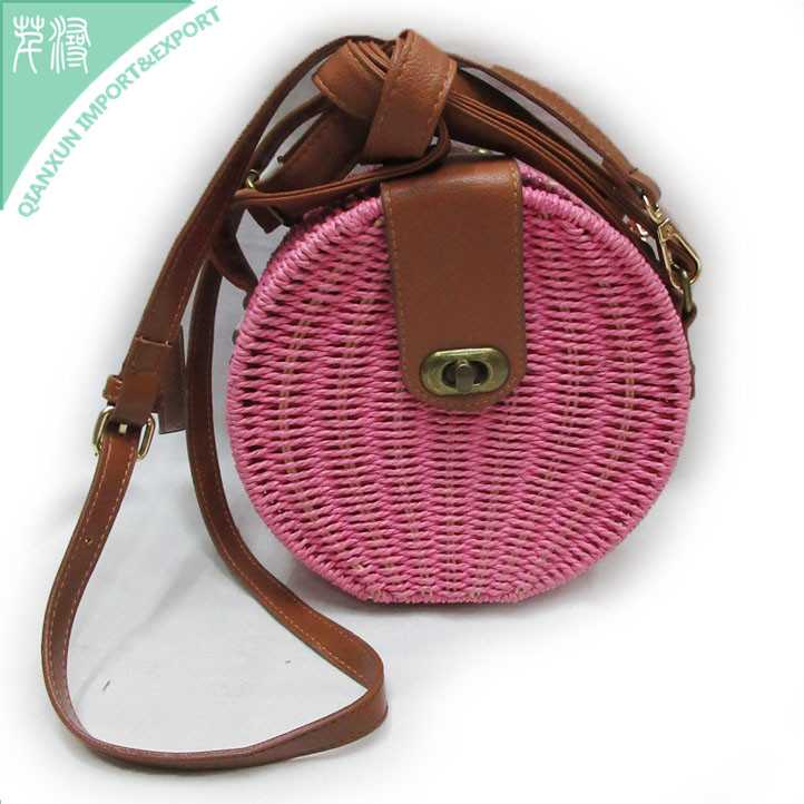 Seagrass woven bali handbag straw purse shoulder circle round bag