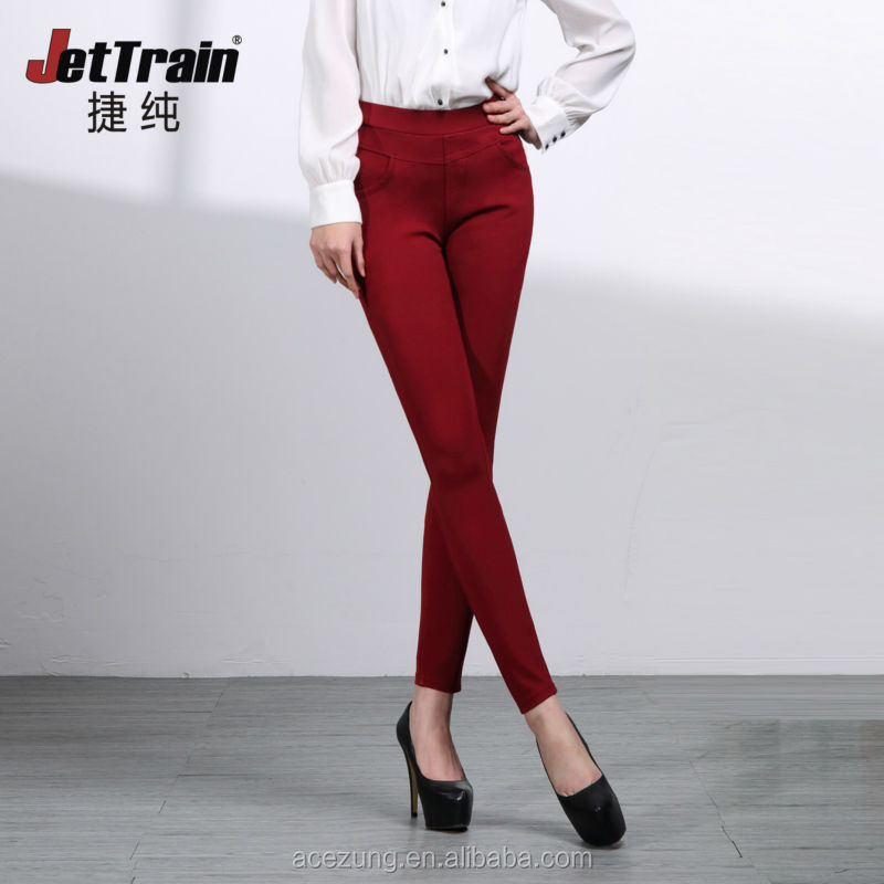 High waist knitted red colored skinny jeans plus size butt lift skinny jeans women colored pants CAYQK0022FB
