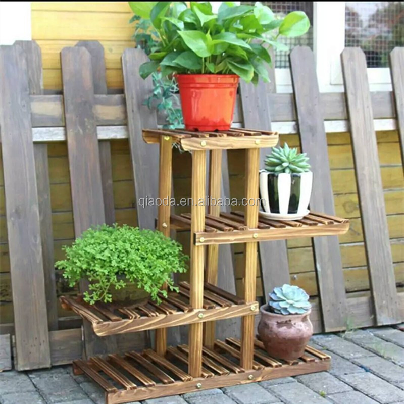 Wooden flower display rack wall flower pot stand