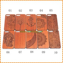 Hard PC Hybrid Snap Handmade Natural Wood Wooden back Cover phone Case for iphone 7