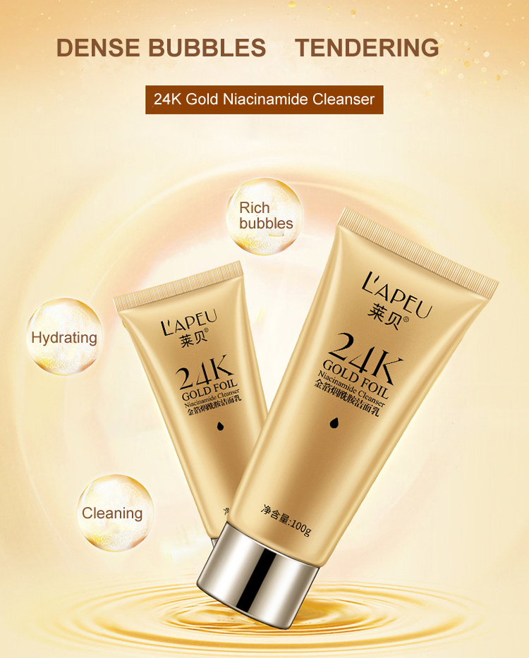 ODM/OEM/OBM 24k gold NIACINAMIDE moisturizing face cleanser face wash facial cleanser deep whitening clean face